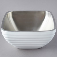 Vollrath 4763550 Double Wall Square Beehive 5.2 Qt. Serving Bowl - Pearl White