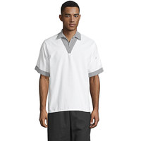Uncommon Threads 0940 White Customizable V-Neck Pullover Cook Shirt with Shepherd's Check Trim - 6XL