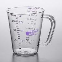 Carlisle 43143AF07 1 Qt. (4 Cups) Purple Allergen Free Polycarbonate Measuring Cup