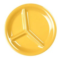 Thunder Group CR710YW 10 1/4 inch Yellow 3-Compartment Melamine Plate - 12/Pack