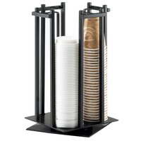Cal-Mil 1133-13 One By One Black 4-Section Revolving Cup and Lid Organizer