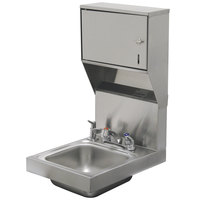 Advance Tabco 7-PS-83 Space Saving Hand Sink with Deck Mount Faucet, Soap, and Paper Towel Dispenser - 12 inch x 16 inch