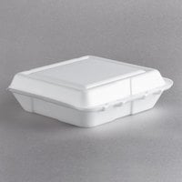 Dart 80HT1R 8 inch x 7 1/2 inch x 2 inch White Foam Hinged Lid Container - 100/Pack