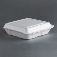 Dart Solo 80HT1R 8 inch x 7 1/2 inch x 2 inch White Foam Hinged Lid Container 100 / Pack