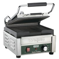 Waring WPG150 Panini Perfetto Grooved Top & Bottom Panini Sandwich Grill - 9 3/4 inch x 9 1/4 inch Cooking Surface - 120V, 1800W