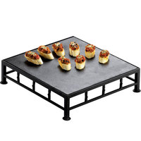 Cal-Mil 1711-3-65 Iron Black Square Riser with Slate Top - 12 inch x 3 inch