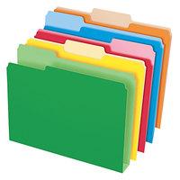 Pendaflex 54460EE Double Stuff Assorted Color Letter Size 1/3 Cut File Folder - 50/Box