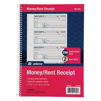 Adams SC1182 7 5/8 inch x 11 inch 2-Part Carbonless Spiral Bound Money and Rent Receipt Book