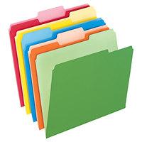 Pendaflex 152 1/3 ASST Assorted Color Letter Size 1/3 Cut Two-Tone Folder - 100/Box
