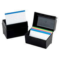 Oxford 1351 Black Plastic 3 inch x 5 inch Index Card Box