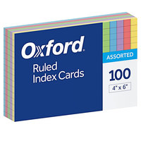 Oxford 34610 4 inch x 6 inch Assorted Color Ruled Index Cards - 100/Pack