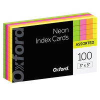 Oxford 40279 3 inch x 5 inch Assorted Color Ruled Index Cards - 100/Pack