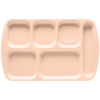 GET TR-151 Tan Melamine 10 inch x 15 1/2 inch Right Hand 6 Compartment Tray - 12/Pack