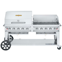 Crown Verity CV-RCB-72RWP-SI50/101 Liquid Propane 72 inch Pro Series Outdoor Rental Grill with Single Gas Connection, 50-100 lb. Tank Capacity, and RWP Roll Dome / Wind Guard Package