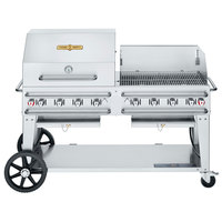 Crown Verity CV-RCB-60RWP-SI-BULK Liquid Propane 60 inch Pro Series Outdoor Rental Grill with Single Gas Connection, Bulk Tank Capacity, and RWP Roll Dome / Wind Guard Package