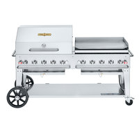 Crown Verity CV-MCB-72 SI50/100-RGP Liquid Propane 72 inch Mobile Outdoor Grill with Single Gas Connection, 50-100 lb. Tank Capacity, and RGP Roll Dome / Griddle Package
