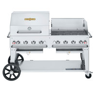 Crown Verity CV-MCB-60 SI-BULK-RWP Liquid Propane 60 inch Mobile Outdoor Grill with Single Gas Connection, Bulk Tank Capacity, and RWP Roll Dome / Wind Guard Package