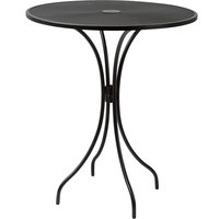 BFM Seating SU36RBL-T Barnegat 36 inch Round Black Steel Outdoor / Indoor Bar Height Table with Umbrella Hole
