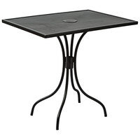 BFM Seating SU2432BL-D Barnegat 24 inch x 32 inch Rectangular Black Steel Outdoor / Indoor Dining Height Table with Umbrella Hole