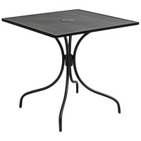 BFM Seating SU3030BL-D Barnegat 30 inch x 30 inch Square Black Steel Outdoor / Indoor Dining Height Table with Umbrella Hole
