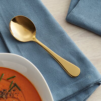 Acopa Vernon Gold 6 1/16 inch 18/0 Stainless Steel Heavy Weight Bouillon Spoon - 12/Case