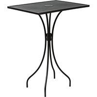 BFM Seating SU2432BL-T Barnegat 24 inch x 32 inch Rectangular Black Steel Outdoor / Indoor Bar Height Table with Umbrella Hole