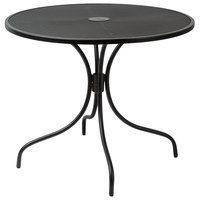 BFM Seating SU36RBL-D Barnegat 36 inch Round Black Steel Outdoor / Indoor Dining Height Table with Umbrella Hole