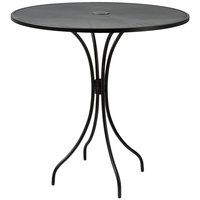 BFM Seating SU42RBL-T Barnegat 42 inch Round Black Steel Outdoor / Indoor Bar Height Table with Umbrella Hole