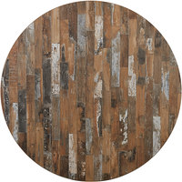 BFM Seating PP24R Midtown 24 inch Round Indoor Tabletop - Planked Pine