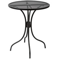 BFM Seating SU24RBL-D Barnegat 24 inch Round Black Steel Outdoor / Indoor Dining Height Table