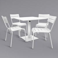 BFM Seating YKM-B32WHU Beachcomber 32 inch Square White Powder Coated Aluminum Dining Height Outdoor / Indoor Table with Umbrella Hole and 4 Chairs