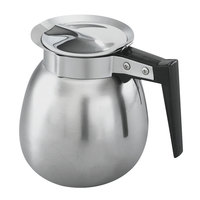Vollrath 46580 64 oz. Mirror Finish Stainless Steel Decaf Coffee Decanter with Black Handle