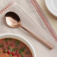 Acopa Phoenix Rose Gold 6 1/4 inch 18/0 Stainless Steel Forged Bouillon Spoon - 12/Case