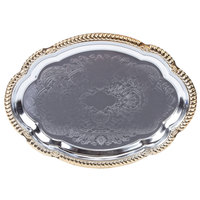 Vollrath 47265 Odyssey 18 1/8 inch x 13 inch Oval Gold Trim Metal Catering Tray