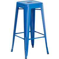 Lancaster Table & Seating Alloy Series Blue Stackable Metal Indoor / Outdoor Industrial Barstool with Drain Hole Seat