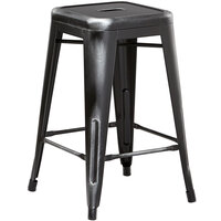 Lancaster Table & Seating Alloy Series Distressed Black Stackable Metal Indoor / Outdoor Industrial Cafe Counter Height Stool with Drain Hole Seat