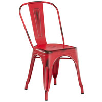 Lancaster Table & Seating Alloy Series Distressed Red Metal Indoor / Outdoor Industrial Cafe Chair with Vertical Slat Back and Drain Hole Seat