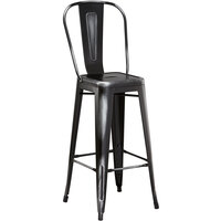 Lancaster Table & Seating Alloy Series Distressed Black Metal Indoor / Outdoor Industrial Cafe Barstool with Vertical Slat Back and Drain Hole Seat