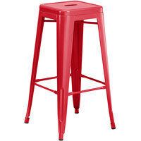 Lancaster Table & Seating Alloy Series Red Stackable Metal Indoor / Outdoor Industrial Barstool with Drain Hole Seat