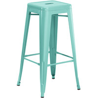 Lancaster Table & Seating Alloy Series Seafoam Stackable Metal Indoor / Outdoor Industrial Barstool with Drain Hole Seat