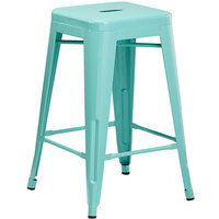 Lancaster Table & Seating Alloy Series Seafoam Stackable Metal Indoor / Outdoor Industrial Cafe Counter Height Stool with Drain Hole Seat