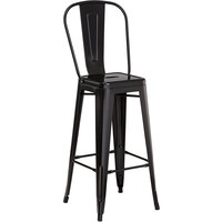 Lancaster Table & Seating Alloy Series Black Metal Indoor / Outdoor Industrial Cafe Barstool with Vertical Slat Back and Drain Hole Seat
