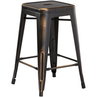 Lancaster Table & Seating Alloy Series Distressed Copper Stackable Metal Indoor / Outdoor Industrial Cafe Counter Height Stool with Drain Hole Seat