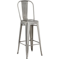 Lancaster Table & Seating Alloy Series Clear Coat Metal Indoor / Outdoor Industrial Cafe Barstool with Vertical Slat Back and Drain Hole Seat