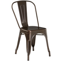 Lancaster Table & Seating Alloy Series Copper Metal Indoor / Outdoor Industrial Cafe Chair with Vertical Slat Back and Drain Hole Seat