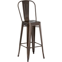 Lancaster Table & Seating Alloy Series Copper Metal Indoor / Outdoor Industrial Cafe Barstool with Vertical Slat Back and Drain Hole Seat