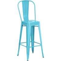 Lancaster Table & Seating Alloy Series Arctic Blue Metal Indoor / Outdoor Industrial Cafe Barstool with Vertical Slat Back and Drain Hole Seat