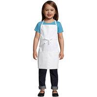 Uncommon Threads 3009 White Customizable Child Bib Apron with 2 Pockets - 19 inchL x 13 inchW