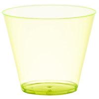 Fineline Savvi Serve 409-Y 9 oz. Squat Neon Yellow Hard Plastic Tumbler - 20/Pack