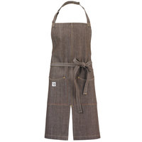 Mercer Culinary M63203BRN Metro Edge Zephyr Brown Customizable Cotton Denim Bib Apron with Adjustable Neck, Split Front, and 2 Pockets - 34 inchL x 30 inchW
